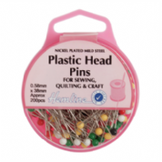 Hemline Plastic Head Pins - 38mm x 0.58mm - 200 pack